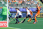 The Hague, Netherlands, June 13: Rogier Hofman #22 of The Netherlands tries to score during the field hockey semi-final match (Men) between The Netherlands and England on June 13, 2014 during the World Cup 2014 at Kyocera Stadium in The Hague, Netherlands. Final score 1-0 (1-0)  (Photo by Dirk Markgraf / www.265-images.com) *** Local caption *** George Pinner #1 of England, Iain Lewers #24 of England, Rogier Hofman #22 of The Netherlands, Michael Hoare #12 of England, Billy Bakker #8 of The Netherlands