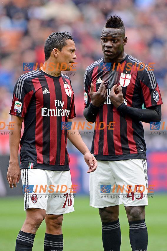 Mario Balotelli e Carlos Bacca Milan<br /> Milano 01-05-2016 Stadio Giuseppe Meazza - Football Calcio Serie A Milan - Frosinone. Foto Giuseppe Celeste / Insidefoto