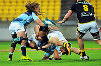 Wes Goosen tackles Solomon Alaimalo during the Mitre 10 Cup rugby match between Wellington Lions and Northland Taniwha at Westpac Stadium in Wellington, New Zealand on Thursday, 12 October 2017. Photo: Dave Lintott / lintottphoto.co.nz