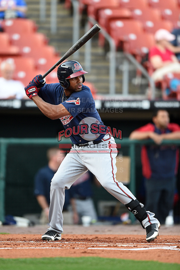 Gwinnett Braves third baseman Edward Salcedo (5) at bat during a game against the Buffalo Bisons on May 13, 2014 at Coca-Cola Field in Buffalo, New  York.  Gwinnett defeated Buffalo 3-2.  (Mike Janes/Four Seam Images)