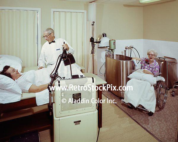 Parkview Nursing Home, Physical Therapist working with two patients.