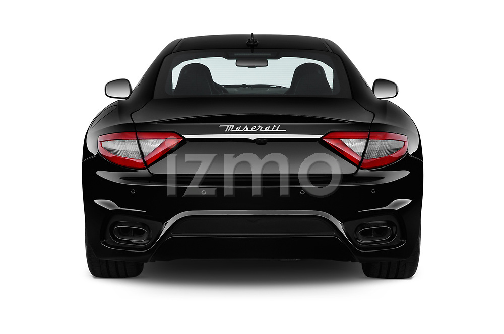 Straight rear view of a 2018 Maserati GranTurismo Sport 2 Door Coupe stock images