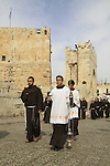 Israel, Jerusalem Old City, Feast of All Saints, the Franciscan procession to the cemetery on Mount Zion