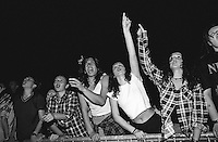 Fans cheer at the EXIT Music Festival in Novi Sad, Vojvodina, Yugoslavia, Europe. July, 2001.