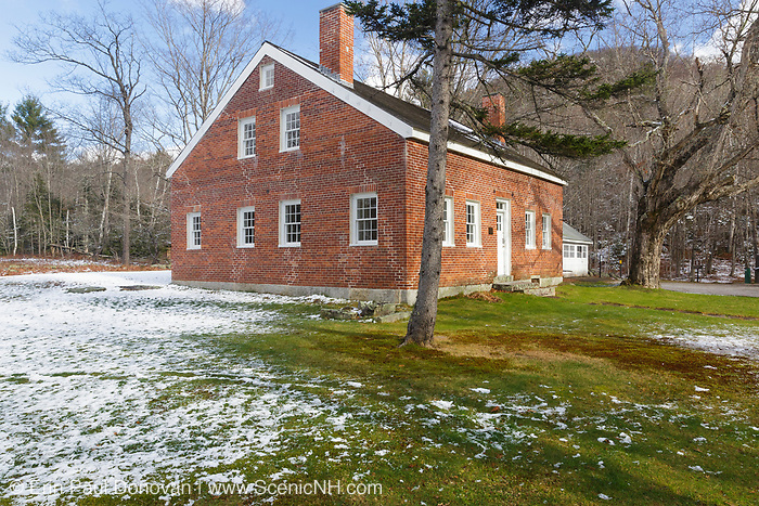 Brickett Place on Evans Notch Road in Stow, Maine USA. This is a 19th century historic brick farmhouse built by John Brickett and is listed on the National Register of Historic Places.