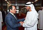Egyptian President Abdel Fattah al-Sisi shakes hands with Abu Dhabi Crown Prince Mohammed bin Zayed al-Nahyan, before he leavese Abu Dhabi, on February 07, 2018. Photo by Egyptian President Office