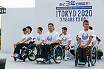 Paralympians attends the 3 Years to Go! ceremony for the Tokyo 2020 Paralympic games at Urban Dock LaLaport Toyosu on August 25, 2017. The Games are set to start on August 25th 2020. (Photo by Rodrigo Reyes Marin/AFLO)