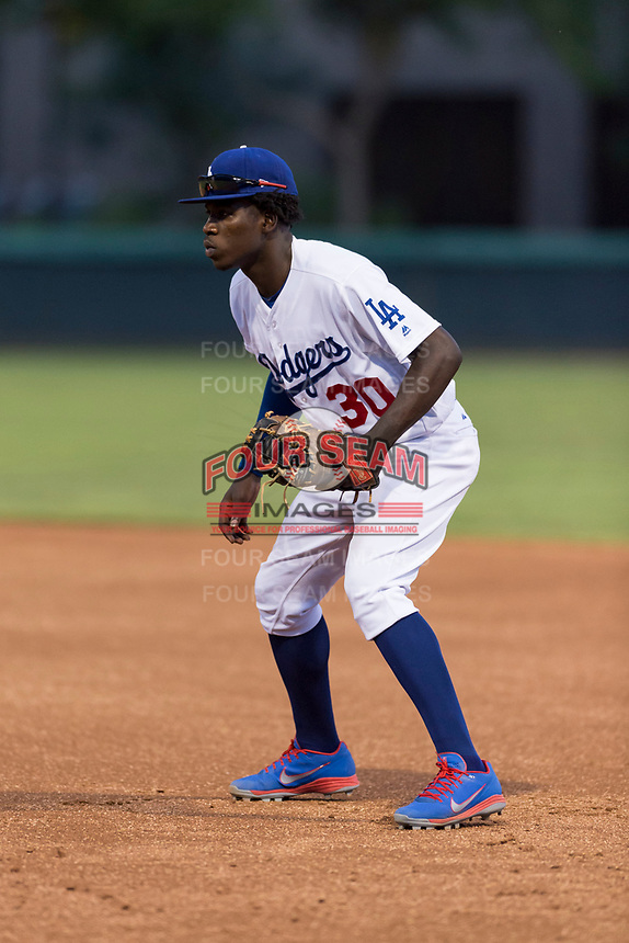 AZL Dodgers first baseman Sauryn Lao (30) during an Arizona League game against the AZL Angels at Camelback Ranch on July 8, 2018 in Glendale, Arizona. The AZL Dodgers defeated the AZL Angels by a score of 5-3. (Zachary Lucy/Four Seam Images)