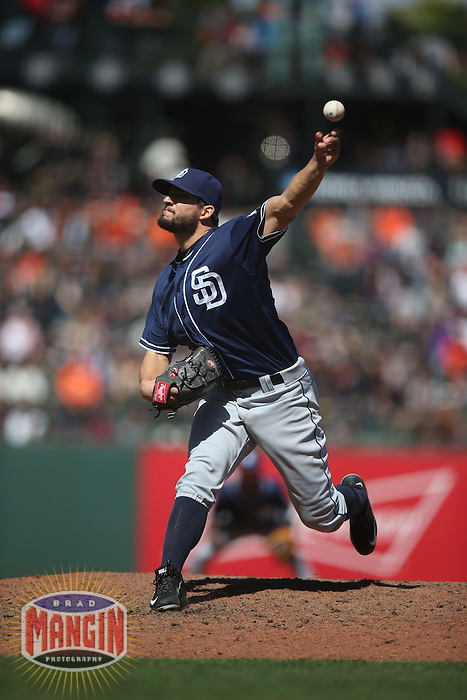 SAN FRANCISCO, CA - MAY 25:  Brad Hand #52 of the San Diego Padres pitches against the San Francisco Giants during the game at AT&T Park on Wednesday, May 25, 2016 in San Francisco, California. Photo by Brad Mangin