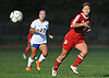 Lauryn Shin #13 of Syosset chases after a ball near midfield during a Nassau County Class AA varsity girls soccer quarterfinal against host East Meadow High School on Tuesday, Oct. 25, 2016. She scored Syosset's second of two goals in the Lady Braves' 2-1 win.
