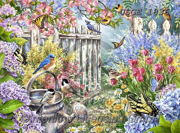 Dona Gelsinger, LANDSCAPES, LANDSCHAFTEN, PAISAJES,birds,garden, paintings+++++,USGE1836,#l#, EVERYDAY
