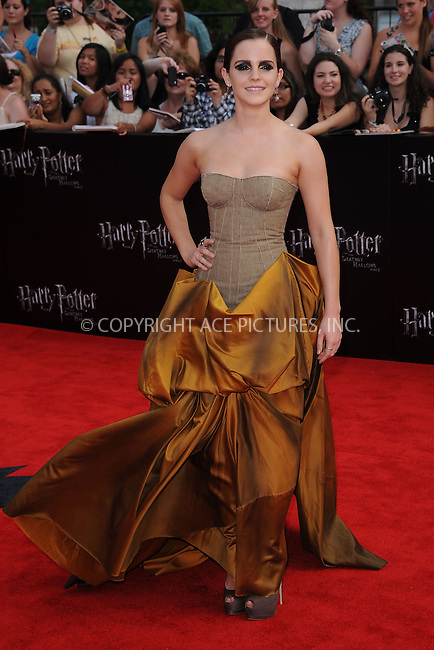 WWW.ACEPIXS.COM . . . . . .July 11, 2011...New York City...Actress Emma Watson attends the New York premiere of 'Harry Potter And The Deathly Hallows: Part 2' at Avery Fisher Hall, Lincoln Center on July 11, 2011 in New York City...Please byline: KRISTIN CALLAHAN - ACEPIXS.COM.. . . . . . ..Ace Pictures, Inc: ..tel: (212) 243 8787 or (646) 769 0430..e-mail: info@acepixs.com..web: http://www.acepixs.com .