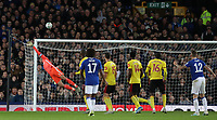 29th October 2019; Goodison Park, Liverpool, Merseyside, England; English Football League Cup, Carabao Cup Football, Everton versus Watford; Lucas Digne of Everton watches as his free kick beats Watford goalkeeper Heurelho Gomes but strikes the crossbar - Strictly Editorial Use Only. No use with unauthorized audio, video, data, fixture lists, club/league logos or 'live' services. Online in-match use limited to 120 images, no video emulation. No use in betting, games or single club/league/player publications