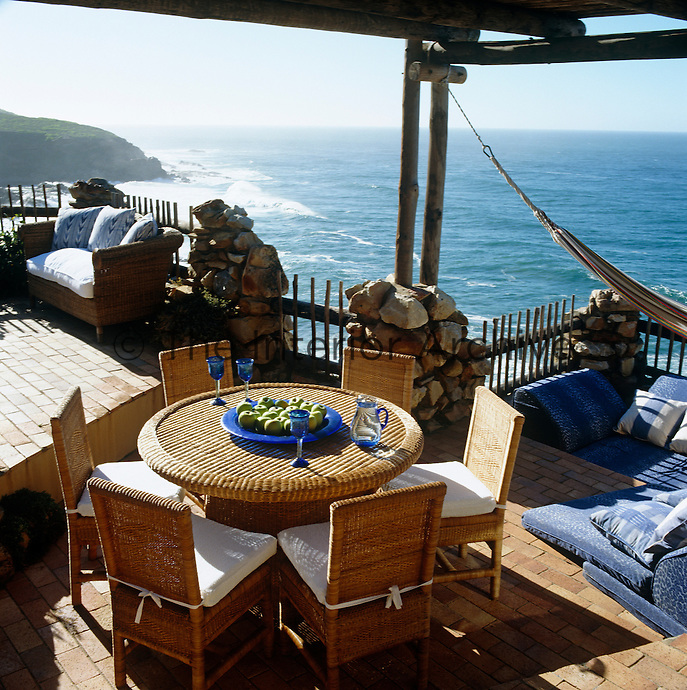 On the west terrace of the property is a sun-bathing pit which overlooks the ocean