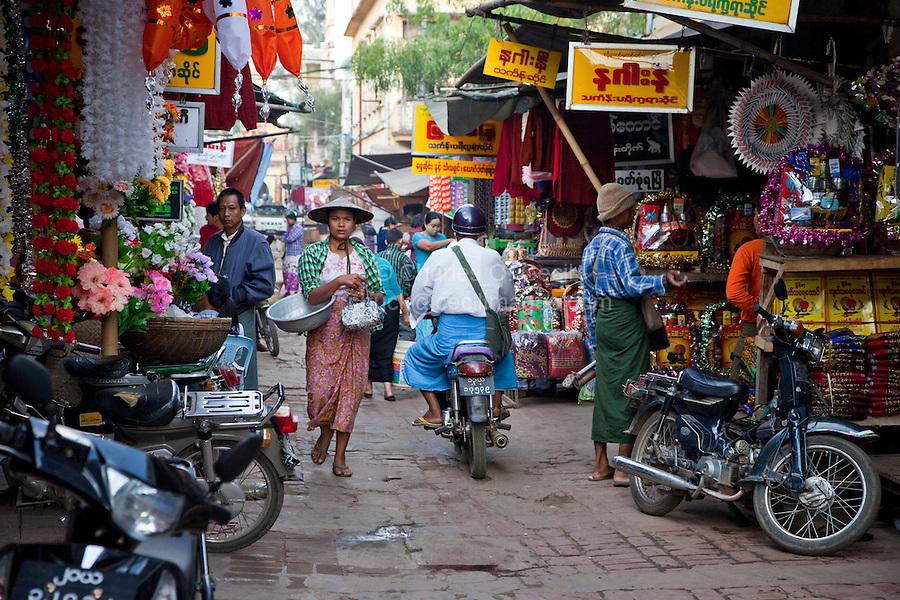 Myanmar, Burma.  Mandalay Street Scene.