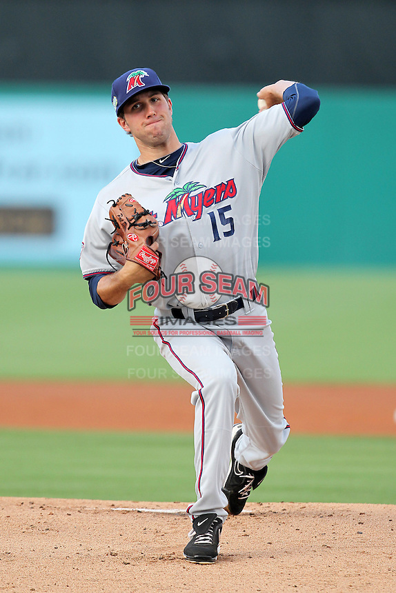 Fort Myers Miracle pitcher Pat Dean #15 during a game against the Palm Beach Cardinals at Roger Dean Stadium on May 2, 2012 in Jupiter, Florida.  Fort Myers defeated Palm Beach 2-1.  (Mike Janes/Four Seam Images)