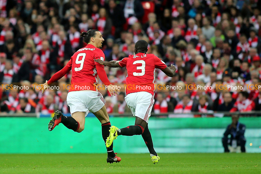 Zlatan Ibrahimovic celebrates scoring Manchester United's with Eric Bailly during Manchester United vs Southampton, EFL Cup Final Football at Wembley Stadium on 26th February 2017