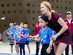 Steffi Graf of Germany, the global ambassador of Zhuhai WTA Elite Trophy 2017, plays with child during tennis clinic at plaza of Zhuhai International Convention and Exhibition Centre on November 04, 2017 in Zhuhai, China. Photo by Yu Chun Christopher Wong / Power Sport Images