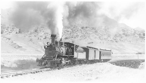 3/4 fireman's-side view of D&amp;RGW #360 with west-bound passenger train.<br /> D&amp;RGW  near Sapinero, CO  Taken by Perry, Otto C. - 6/15/1944
