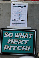 A sign posted in the dugout of The Coastal Carolina University Chanticleers during the 2nd and deciding game of the NCAA Super Regional vs. the University of South Carolina Gamecocks on June 13, 2010 at BB&T Coastal Field in Myrtle Beach, SC.  The Gamecocks defeated Coastal Carolina 10-9 to advance to the 2010 NCAA College World Series in Omaha, Nebraska. Photo By Robert Gurganus/Four Seam Images