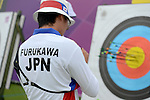 LONDON, ENGLAND - JULY 27:  Takaharu Furukawa of Japan warms up during the Men's Individual Archery Ranking Round on Olympics Opening Day as part of the London 2012 Olympic Games at the Lord's Cricket Ground on July 27, 2012 in London, England. (Photo by Donald Miralle)