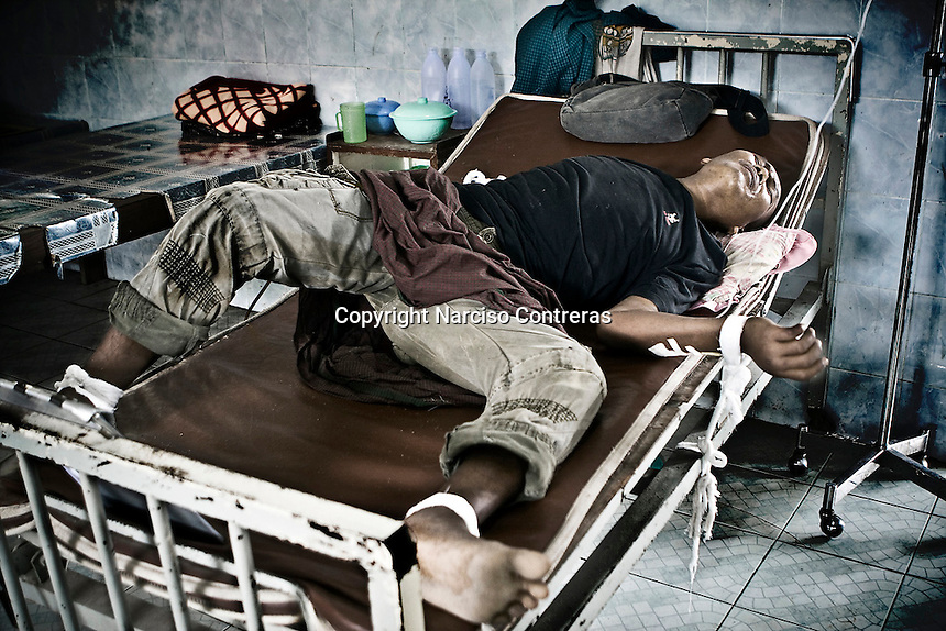 Burmese migrant patiente who suffer a mental dessease recieve treatment at the Mae Tao medical care clinic in Mae Sot, Thailand.