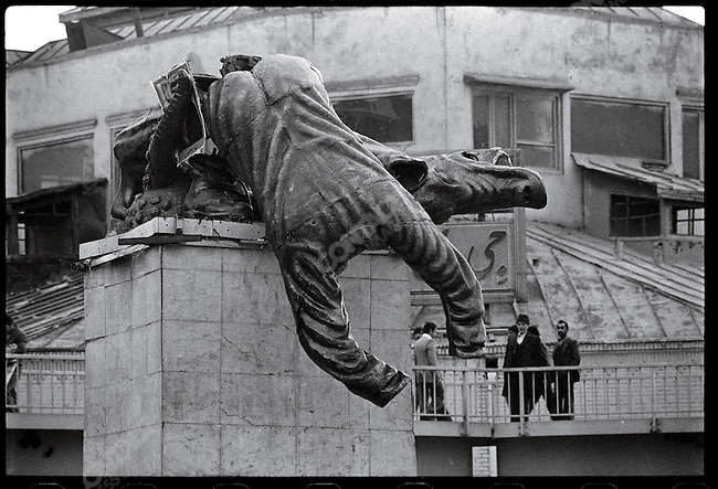 A statue of the shah's father is smashed. Tehran, January 16, 1979.