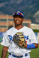 Willie Calhoun (17) of the Ogden Raptors poses for a photo before the game against the Grand Junction Rockies in Pioneer League action at Lindquist Field on July 6, 2015 in Ogden, Utah.  Ogden defeated Grand Junction 8-7.(Stephen Smith/Four Seam Images)