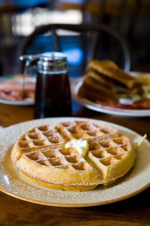 Grandma's Coffee House in Keokea, Maui, Hawaii has been roasting it's own coffee since 1918.  Pictured here is the Belgian waffle, served for breakfast at the cafe.