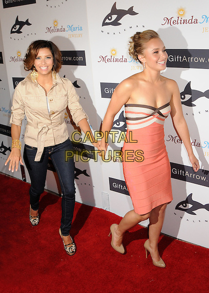 EVA LONGORIA PARKER & HAYDEN PANETTIERE.Whaleman Foundation Benefit Dinner at Beso Restaurant, Hollywood, California, USA..August 10th, 2008.full length strapless dress peach pink silver brown beige shoes beige jacket skinny jeans denim platform shoes holding hands.CAP/ADM/BP.©Byron Purvis/AdMedia/Capital Pictures.