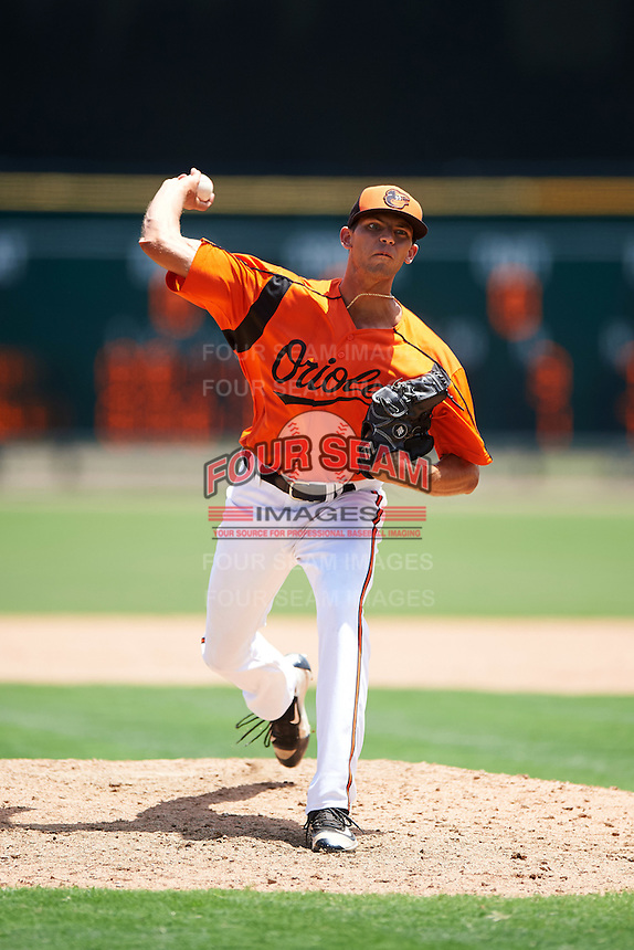 GCL Orioles relief pitcher Rocky McCord (49) during a game against the GCL Twins on August 11, 2016 at the Ed Smith Stadium in Sarasota, Florida.  GCL Twins defeated GCL Orioles 4-3.  (Mike Janes/Four Seam Images)
