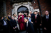 Wroclaw 10.12.2008 Poland<br /> His Holiness XIV Dalai Lama standing in front of south-western city Wroclaw's Town Hall after He has receive the honorary citizenship of Wroclaw.<br /> Photo: Adam Lach / Napo Images<br /> <br /> Jego Swiatobliwosc XIV Dalajlama stoi przed wroclawskim ratuszem tuz po tym jak otrzymal honorowe obywatelstwo Wroclawia.<br /> Fot. Adam Lach / Napo Images