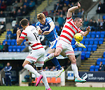 St Johnstone v Hamilton Accies...12.09.15  SPFL McDiarmid Park, Perth<br /> Darian MacKinnon handles the ball for a penalty during a challenge with Liam Craig<br /> Picture by Graeme Hart.<br /> Copyright Perthshire Picture Agency<br /> Tel: 01738 623350  Mobile: 07990 594431