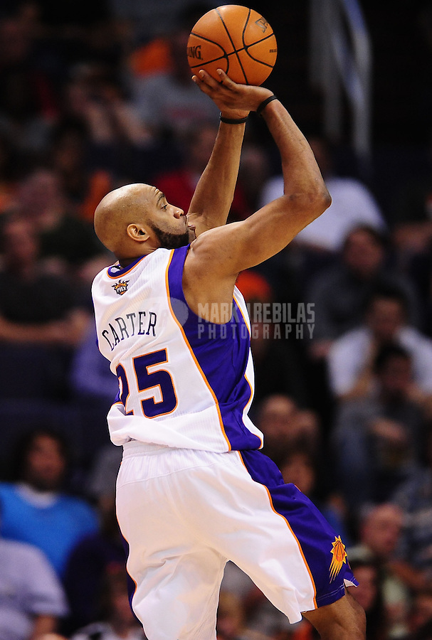 Mar. 30, 2011; Phoenix, AZ, USA; Phoenix Suns guard (25) Vince Carter against the Oklahoma City Thunder at the US Airways Center. Mandatory Credit: Mark J. Rebilas-.