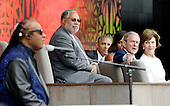 (R to L) : Former First Lady Laura Bush, former President George W. Bush, First Lady Michelle Obama,U.S President Barack Obama and Founding Director of the NMAAHC Dr. Lonnie Bunch listen to singer Stevie Wonder during the opening ceremony of the Smithsonian National Museum of African American History and Culture on September 24, 2016 in Washington, DC. The museum is opening thirteen years after Congress and President George W. Bush authorized its construction. <br /> Credit: Olivier Douliery / Pool via CNP