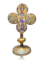 Medieval Gothic reliquary of Saint Francis of Assisi made in Limoges around 1228, enamel on gold. inv 4083, The Louvre Museum, Paris.