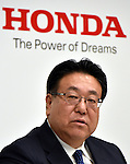 February 3, 2017, Tokyo, Japan - Executive Vice President Seiji Kuraishi of Japans Honda Motor Co., reports the automakers earnings for the third quarter of fiscal year 2017 in Tokyo on Friday, February 3, 2017. For fiscal 2016,?Honda?raised its group net profit outlook to?545 billion yen, up 58.2 percent from a year earlier.  (Photo by Natsuki Sakai/AFLO) AYF -mis-
