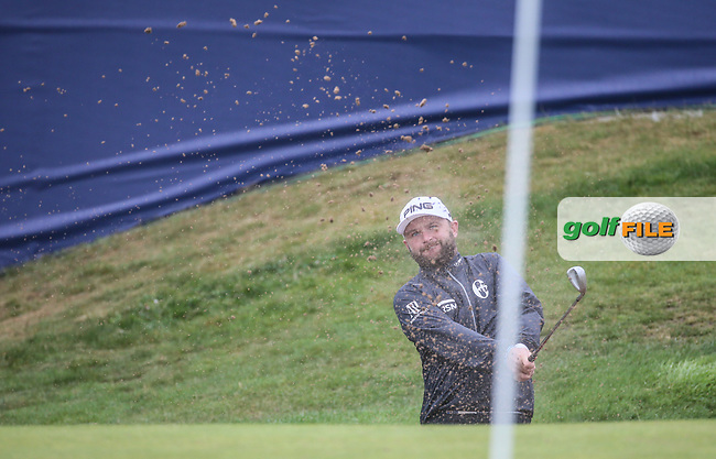 Andy Sullivan (ENG) slam dunks his third shot from the bunker for a 67 finish during Round Three of the Aberdeen Asset Management Scottish Open 2017, played at Dundonald Links, Troon, Ayrshire, Scotland.  15/07/2017. Picture: David Lloyd | Golffile.<br /> <br /> Images must display mandatory copyright credit - (Copyright: David Lloyd | Golffile).