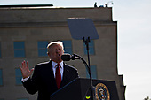 United States President Donald J. Trump speaks during a ceremony to commemorate the September 11, 2001 terrorist attacks, at the Pentagon in Washington, D.C., U.S., on Monday, Sept. 11, 2017. Trump is presiding over his first 9/11 commemoration on the 16th anniversary of the terrorist attacks that killed nearly 3,000 people when hijackers flew commercial airplanes into New York's World Trade Center, the Pentagon and a field near Shanksville, Pennsylvania. <br /> Credit: Andrew Harrer / Pool via CNP