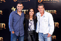 "Manuel Sicilia, Inma Cuesta and Antonio Banderas during ""Justin And The Knights Of Valour"" film presentation in Spain, in Villaviciosa de Odon castle, in Madrid, Spain. September 11, 2013. (Alterphotos/Victor Blanco) /nortephoto.com"