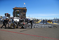 Feb 4, 2016; Chandler, AZ, USA; Crew members with NHRA top fuel driver Dave Connolly during pre season testing at Wild Horse Pass Motorsports Park. Mandatory Credit: Mark J. Rebilas-USA TODAY Sports