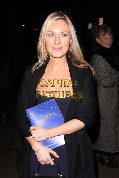 "IMOGEN LLOYD WEBBER.After show party for ""The Wizard Of Oz"" press night, One Marylebone, London, England..March 1st, 2011.half length navy blue dress bandage bodycon cleavage herve leger black coat .CAP/AH.©Adam Houghton/Capital Pictures."