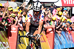 Polka Dot Jersey Warren Barguil (FRA) Team Sunweb crosses the finish line at the end of Stage 15 of the 104th edition of the Tour de France 2017, running 189.5km from Laissac-Severac l'Eglise to Le Puy-en-Velay, France. 16th July 2017.<br /> Picture: ASO/Pauline Ballet | Cyclefile<br /> <br /> <br /> All photos usage must carry mandatory copyright credit (&copy; Cyclefile | ASO/Pauline Ballet)