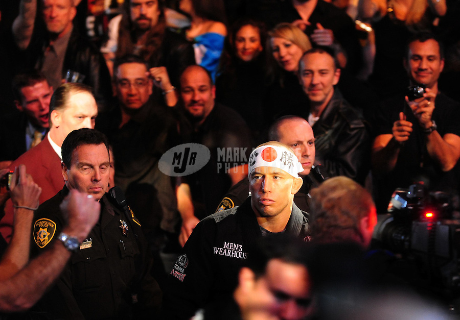 Jan. 31, 2009; Las Vegas, NV, USA; UFC fighter Georges St-Pierre enters the arena prior to taking on B.J. Penn during the welterweight championship in UFC 94 at the MGM Grand Hotel and Casino. St-Pierre defeated Penn with a fourth round TKO. Mandatory Credit: Mark J. Rebilas-
