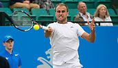 June 15th 2017, Nottingham, England; ATP Aegon Nottingham Open Tennis Tournament day 6;  Marius Copil of Roumania in action as he heads towards victory in two sets against Reilly Opelka of USA