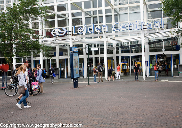 Exterior sign and frontage of Leiden Centraal railway station, Netherlands