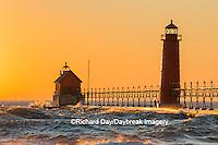 64795-01114 Grand Haven South Pier Lighthouse at sunset on Lake Michigan, Ottawa County, Grand Haven, MI