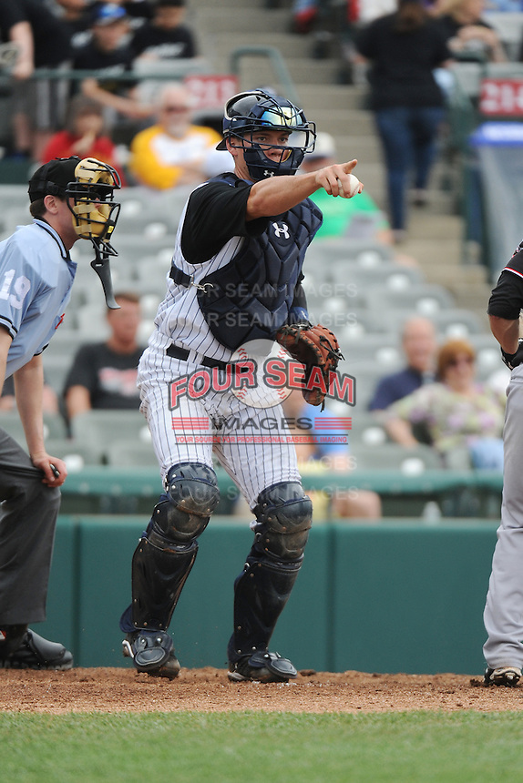 Trenton Thunder catcher Pete O'Brien (37) during game against the Erie Sea Wolves at ARM & HAMMER Park on May 15, 2014 in Trenton, NJ.  Erie defeated Trenton 4-2.  (Tomasso DeRosa/Four Seam Images)