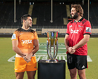Jaguares captain Jeronimo De La Fuente and Crusaders captain Sam Whitelock pose with Super Rugby trophy at Orangetheory Stadium in Christchurch, New Zealand on Friday, 5 July 2019. Photo: Martin Hunter / lintottphoto.co.nz