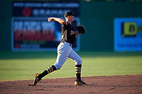 West Virginia Black Bears shortstop Robbie Glendinning (16) throws to first base during a game against the Batavia Muckdogs on July 3, 2018 at Dwyer Stadium in Batavia, New York.  Batavia defeated West Virginia 5-4.  (Mike Janes/Four Seam Images)